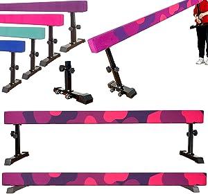 Marfula 8 Feet Adjustable Gymnastics Balance Beam Gymnastics Training Equipment for Kids Home Use