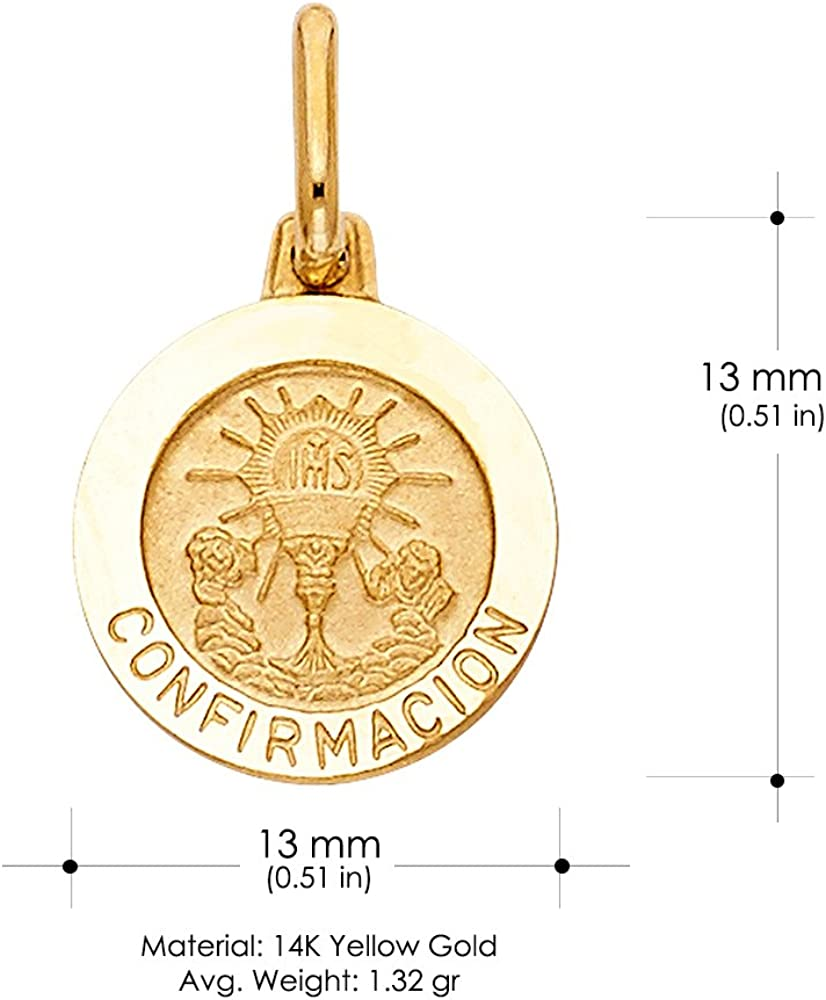 14K Yellow Gold Holy Communion Confirmacion Religious Charm Pendant with 0.8mm Box Chain Necklace