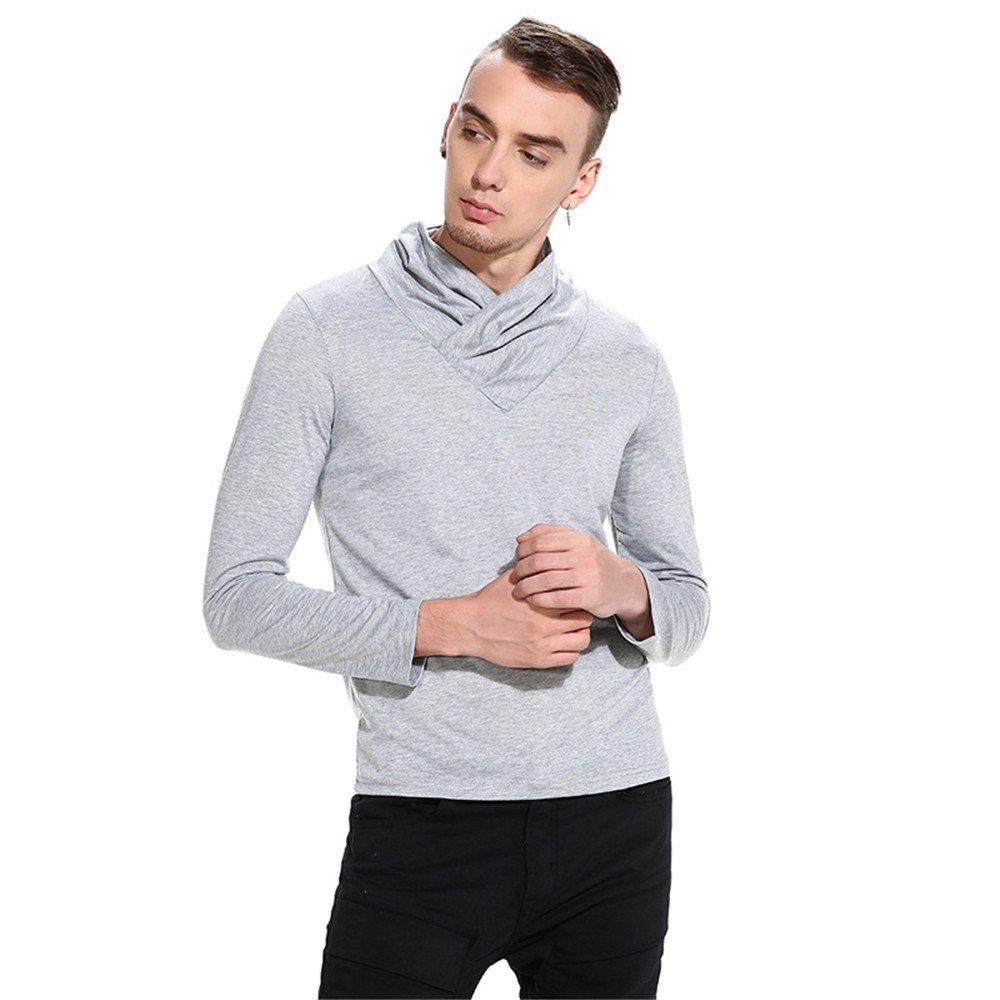 Gndfk männer - Pullover Pullover Haufen Feste warm Feste Haufen langärmelige Rolli,hellgrau,m 5ae792