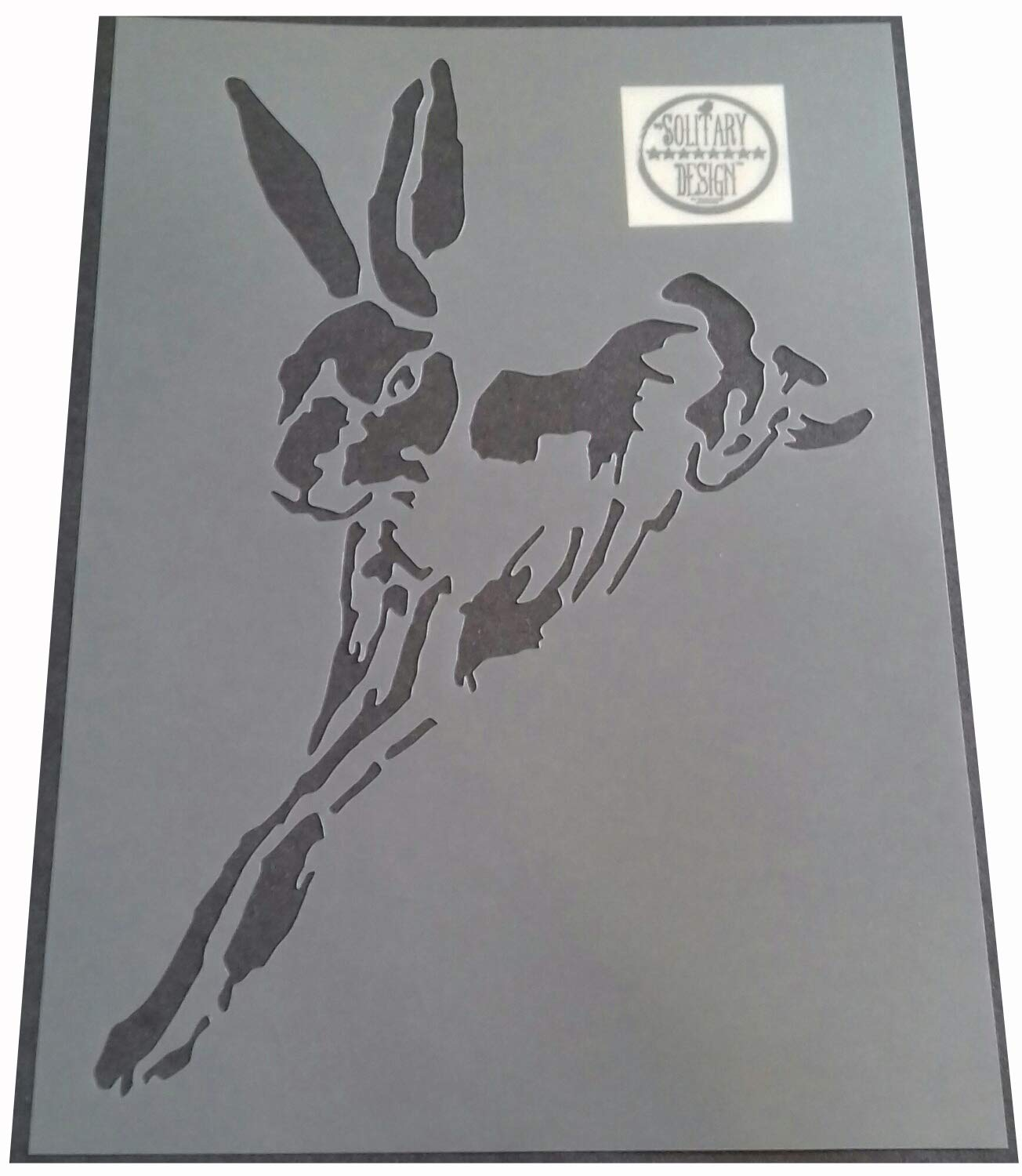 Solitarydesign Shabby Chic Stencil Artistic style leaping Hare Rabbit Rustic Mylar Vintage A4 297x210mm wall + Furniture