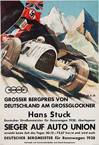 Auto Union - Germany - Hans Stuck - Sieger auf Auto Union - (artist: Klokien c. 1938) - Vintage Advertisement (24x36 SIGNED Print Master Giclee Print w/Certificate of Authenticity - Wall Decor Travel Poster)