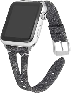 Somoder Slim Woven Bands Compatible with Apple Watch Band 38mm 40mm, Soft Cloth Fabric Canvas Strap Replacement for iWatch Series 5/4/3/2/1 Women, 12 Months Warranty
