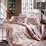 French style luxury 100% Silk bedding collection comforter set duvet cover pastoral floral pattern bed sheet wedding festive decoration 6 Pieces-A King