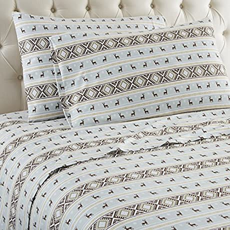 Shavel Home Products Micro Flannel Sheet Set King Reindeer Stripe