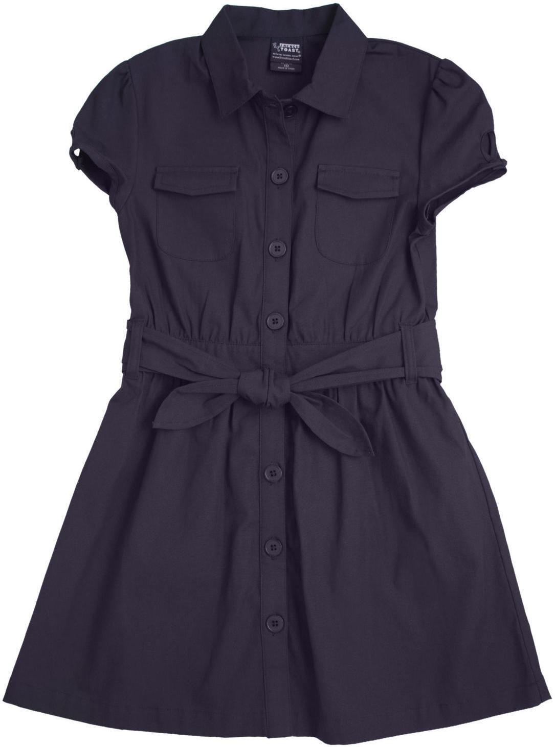 French Toast School Uniform Girls Canvas Safari Shirt-Dress, Navy, 4T