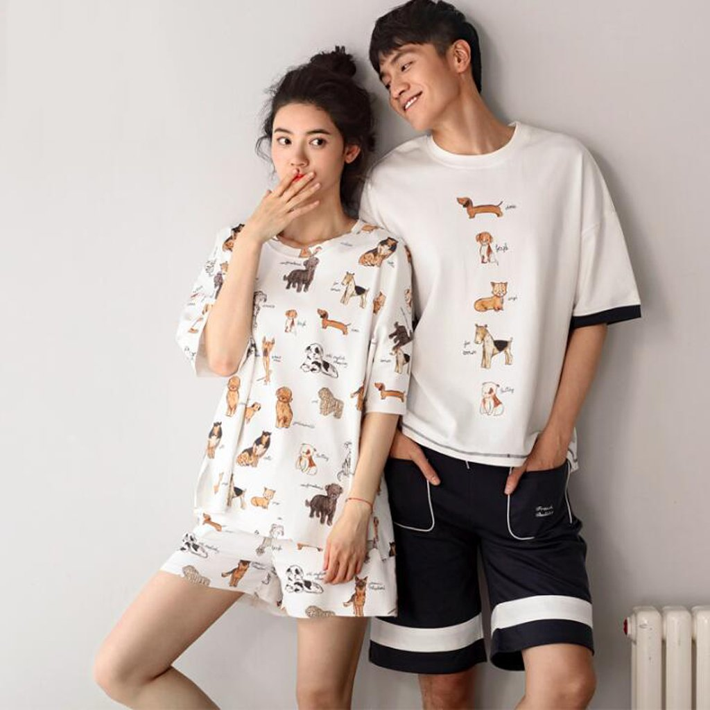 Pajamas ZHAOJING Summer Cotton Lovers Cute Female Summer Loose Cotton Home  Service Men s Thin Section Short-sleeved Underwear Suit (short-sleeved +  Shorts)  ... 108419834