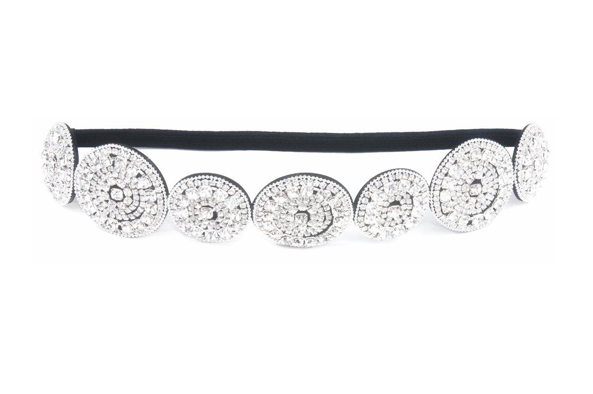 Amazon.com   Thick Patterned Shimmering Bling Bridal Rhinestone Elastic  Headbands (Style E)   Beauty 17d790ea55d