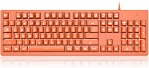 NACODEX DKS100 Wired Membrane Keyboard 104 Keys with Mechanical Feel - White Backlight Computer Keyboard - 19 Anti-Ghosting Keys Floating Keyboard (Orange)