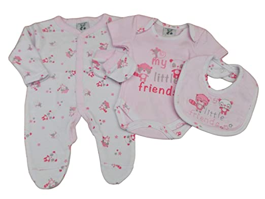 b01e3ed163b7 Tags Tiny Baby Girls Premature 4 Piece Little Friends Layette Set 3-5 - 5-8lb  (5-8lbs): Amazon.co.uk: Clothing