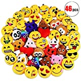 Danirora Christmas Emoji Keychains Bulk, [46 Pack] Mini Emoji Plush Pillow Ornament Goodie Bag Fillers for Kids Birthday Party Supplies Carnival Prizes