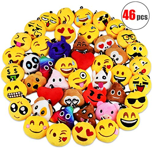 (Danirora Christmas Emoji Keychains Bulk, [46 Pack] Mini Emoji Plush Pillow Ornament Goodie Bag Fillers for Kids Birthday Party Supplies Carnival Prizes)