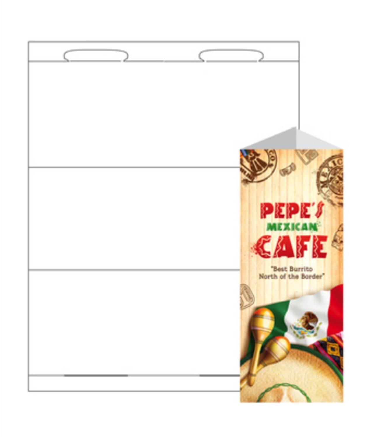 Print-Ready Table Tent, Tri-Fold (No-Tear Waterproof), 3-3/8'' x 8-1/2'' (folded), 1-UP on 8-1/2'' x 11'' White Synthetic 8-Mil Paper - 25 Sheets by Zapco