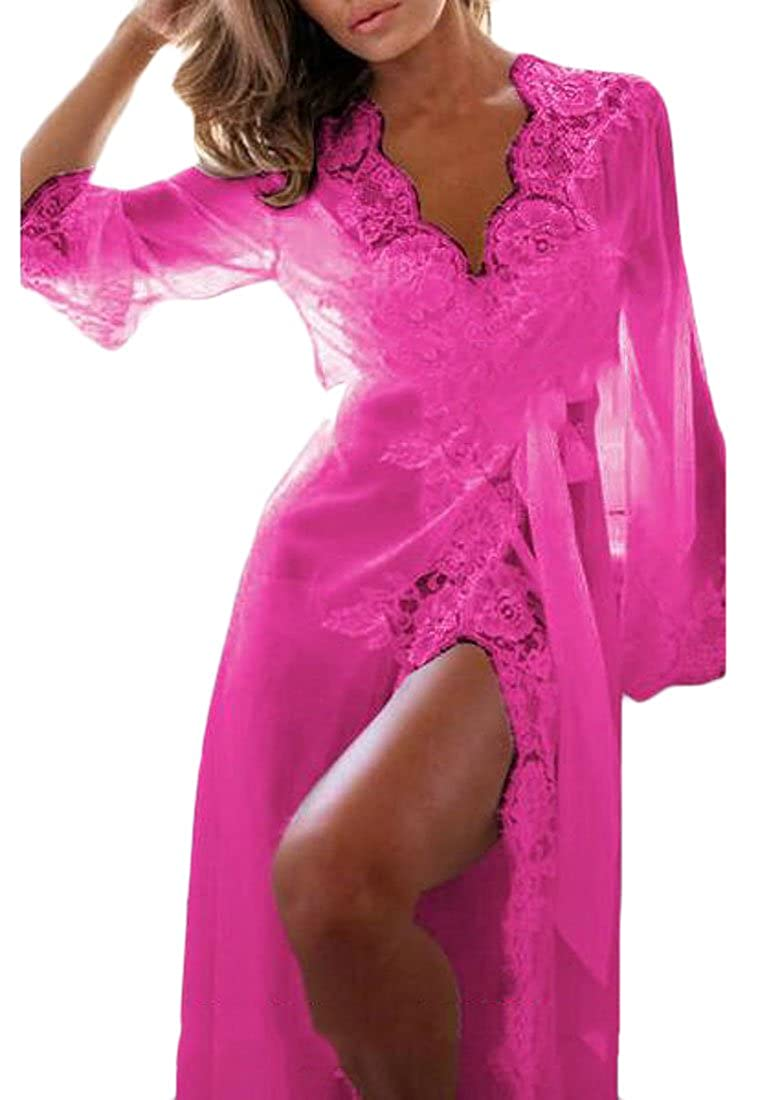 BYWX Women Underwear Lace Lingerie Bathrobe Sleepwear Nightgown Pajama Robe