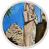 Pixels Round Beach Towel With Tassels featuring ''Karnak Temple Egypt'' by Irina Sztukowski