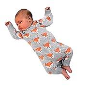 Goddessvan Newborn Infant Baby Girl Boy Cute Fox Print Warm Romper Jumpsuit Clothes (Gray, 6M)