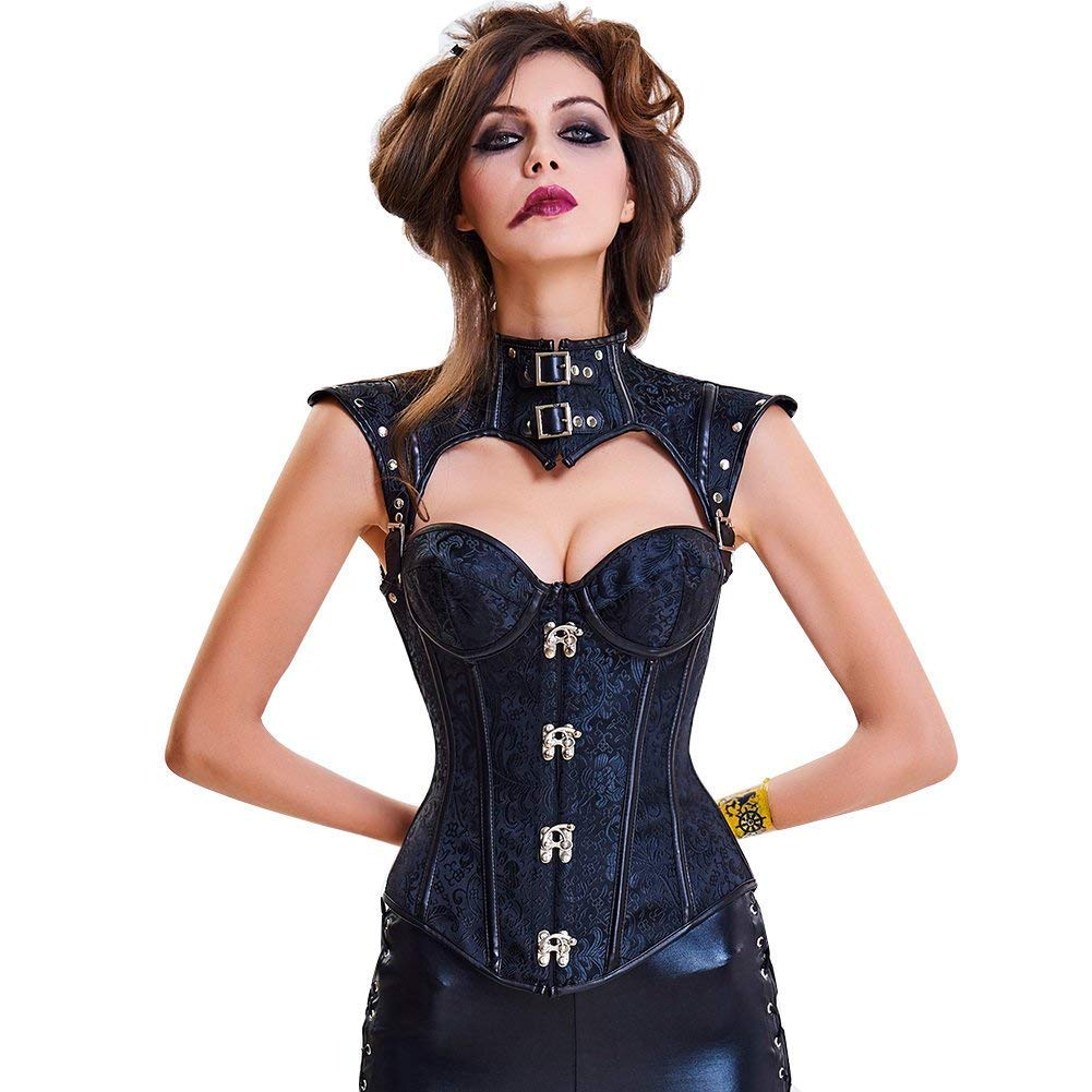 DOLAA Women's Steampunk Spiral Steel Boned Vintage Retro Corset Bustier and Skirts