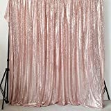 GFCC Rose Gold 20x10ft Sequin Backdrop Wedding Party Christmas Decoration Home Favors Photo Booth Backdround