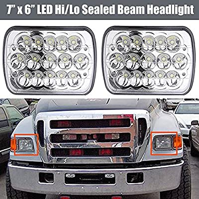 LED Headlights 6000K for Ford Super Duty Trucks F600 F650 F700 F750 7x6 5x7 High and Low Sealed Beam Square Rectangle Headlamp Replacement Kit Bulb H4/HB2/9003 Plug and Play