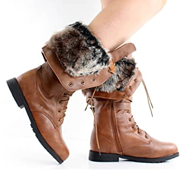 22ad392b380 Women s Knee High Lace Up Faux Fur Winter Boots in Black