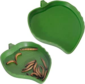 YOGURTCK 2Pcs Tortoises Feeding Bowl Dish Plate for Putting in Water and Food, Fit Lizard and Small Reptiles Accessories Supplies