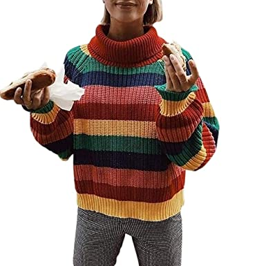 Womens Rainbow Pullover Sweaters Long Sleeve Colorful Striped Striped Top  Turtleneck Knitted Sweater Oversized Jumper Shirt
