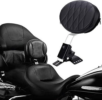Slotted Seat Adjustable Plug-in Driver Rider Backrest Pad Detachable for 1997-2017 Harley Touring FLH FLT
