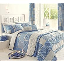 Moroccan Patchwork Mosaic Blue Duvet Set Beige Elton Super King Cover Bed Size Quilt Set Hallways ® by Hallways