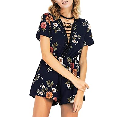 c1c18a91ac32 Longay Women Lace up Printing Short Sleeve Round Neck Rompers Jumpsuit  Playsuit (S)