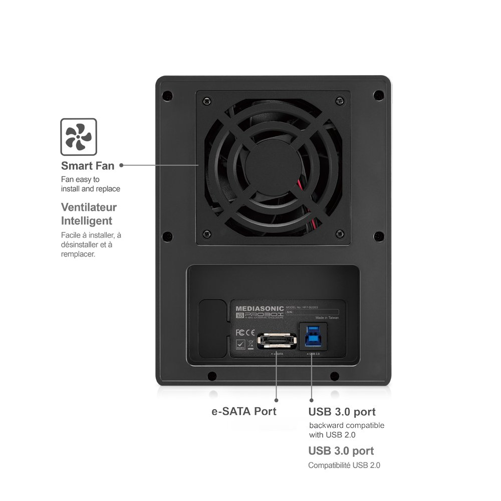 Mediasonic PROBOX 4 Bay 3.5'' SATA Hard Drive Enclosure - USB 3.0 & eSATA Support 12TB HDD (HF7-SU3S3) (Black) by Mediasonic (Image #3)