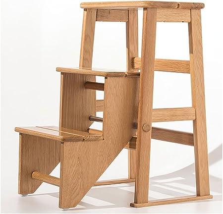 Cdbl Escalera de Madera Maciza Escalera de la Silla Silla Escalera de la casa Escalera Escalera Taburete Multifunción Escalera de la Silla de Doble Uso Creativo sillas Plegables de Interior: Amazon.es: Hogar