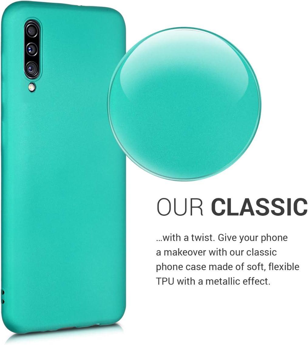 Protector Trasero en Azul Profundo Carcasa de TPU Silicona kwmobile Funda Compatible con Samsung Galaxy A30s