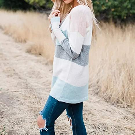 Limsea 2018 Womens Long Sleeve Knitted Pocket Stripe Sweater Oversized  Jumper Pullover Top at Amazon Women s Clothing store  f391f4fb7