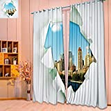 SeptSonne Thermal Insulated Grommet Unlined Window Curtains new york city through hole in paper Set of Two Panels/W104 x L108 Pair