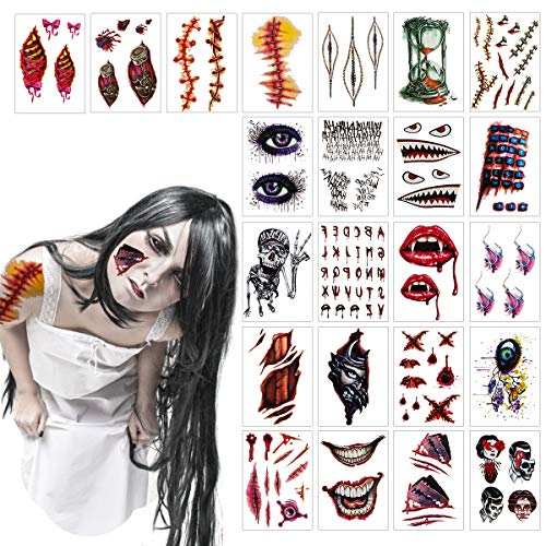 Madholly 23 Sheets Horrible Temporary Tattoos, Bleeding Wound Scar Horror Body Face Arm Tattoo Stickers]()