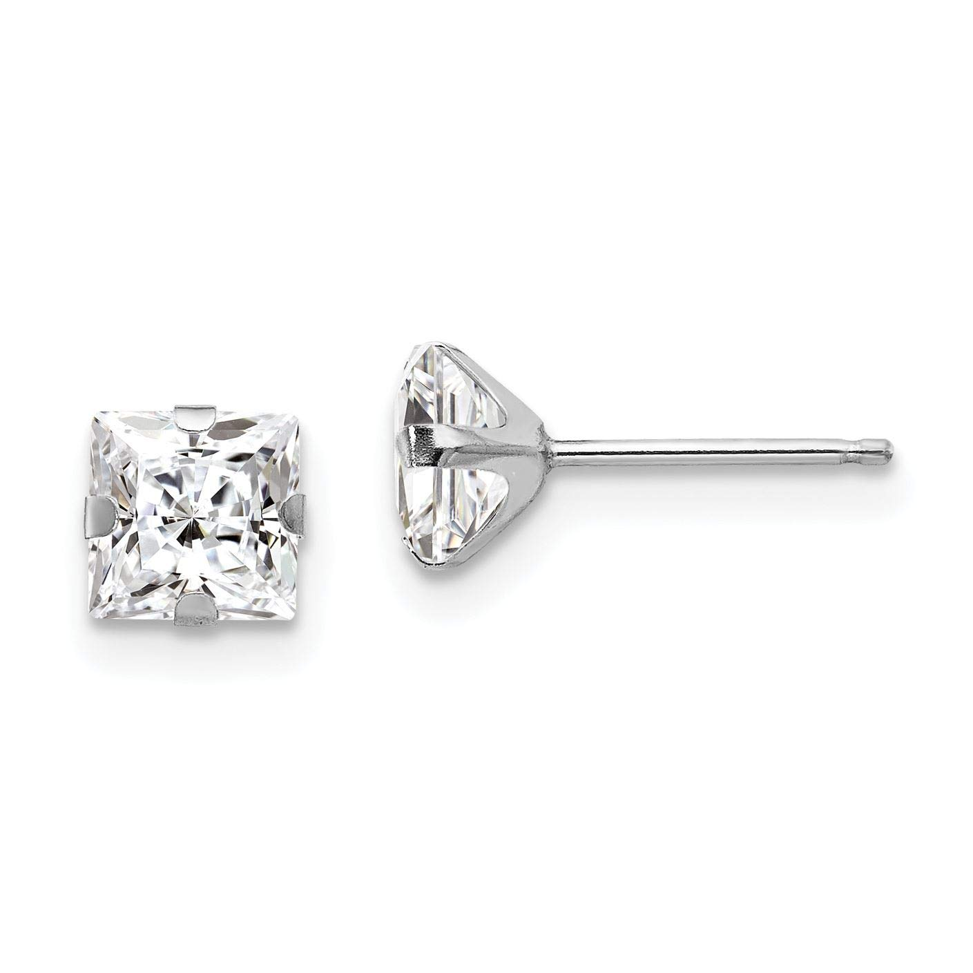 14K White Gold Madi K Childrens 5 MM Square CZ Post Stud Earrings