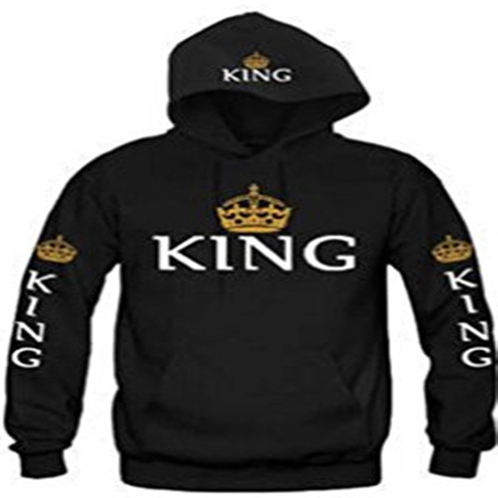 Meolin King & Queen Matching Couple Sweatshirt Hoodies with Cat Pouch,Male black KING,XL