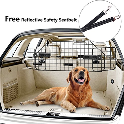 PUPTECK Dog Barrier for SUV Cars - Heavy Duty Adjustable Pet Wire Barrier ()