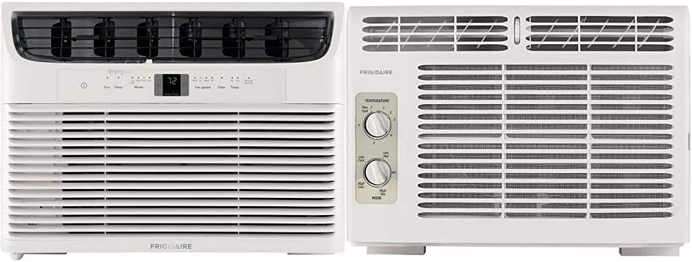 Frigidaire 10,000 BTU 115V Window-Mounted Compact Air Conditioner with Remote Control, White & 5,000 BTU 115V Window-Mounted Mini-Compact Air Conditioner with Mechanical Controls, White