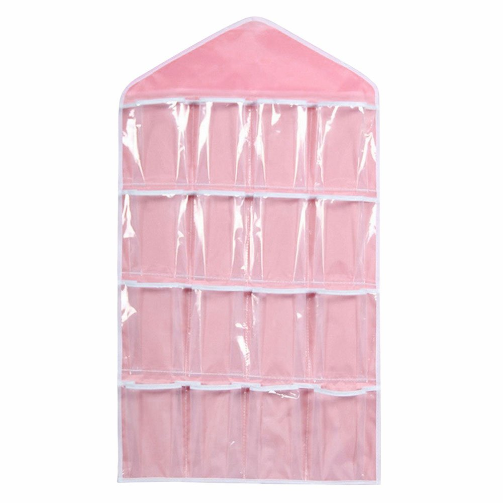 Taloyer Clear Plastic Over the Door Wall Hanging Bag Shoe Rack Hanger Storage Closet Organizer with 16 Pockets (Beige)