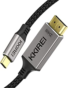 USB C to HDMI Cable Adapter (4K@60Hz) 6Ft USB Type C to HDMI Cable Braided Nylon Thunderbolt 3 Compatible with MacBook Pro/iPad Pro/MacBook Air 2018/iMac 2017/Surface Book 2/Samsung Galaxy S10/Note 9