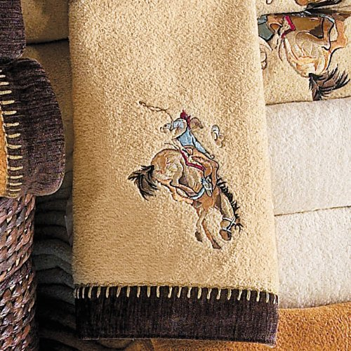 Cowboy Rider Rattan Embroidered Western Hand Towel - Western Bathroom - Towel Western Bath Rider