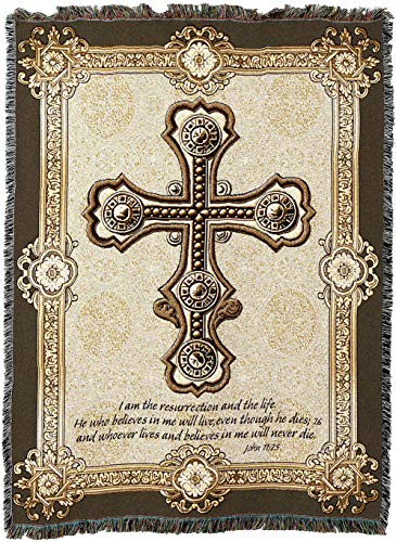 (Pure Country Weavers - Gothic Cross Celtic Irish Woven Tapestry Throw Blanket with Fringe Cotton USA 72x54)