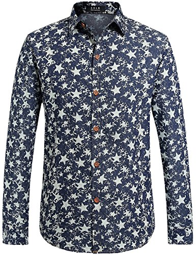 SSLR Men's Starred Print Casual Long Sleeve Denim Shirt (Large, Blue) (70s Men Clothes)