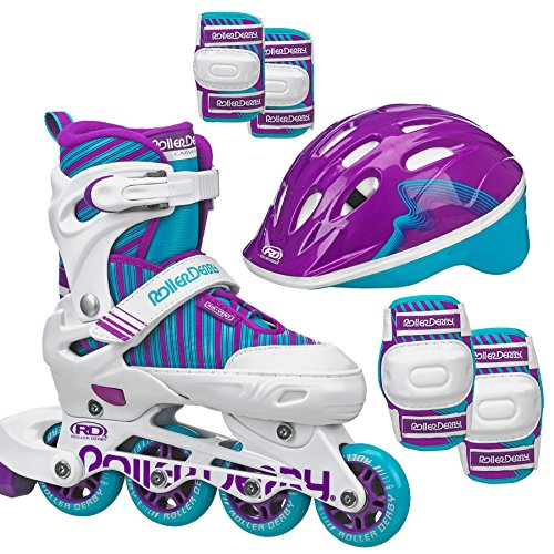 Roller Derby Carver Girls Inline/Protective Skate Pack Medium, 3-6