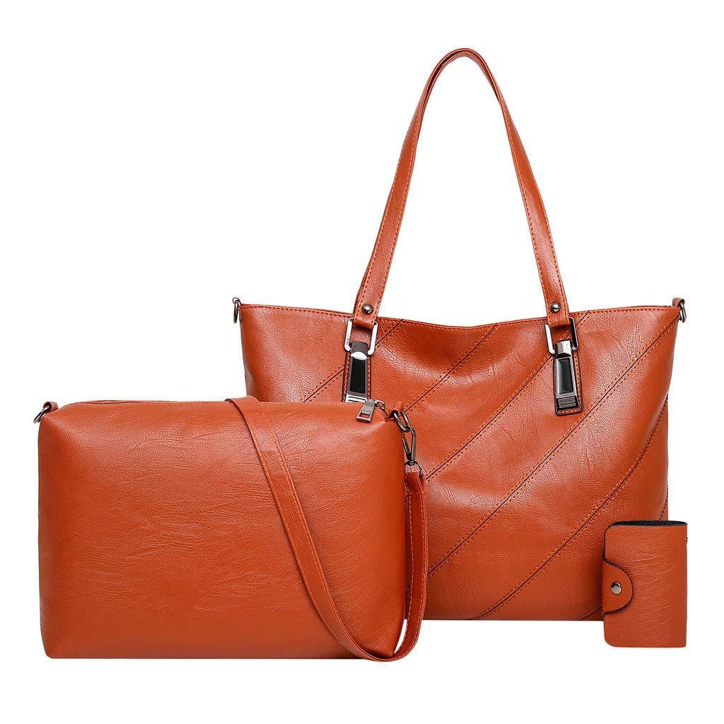 Womens 3Pcs Leisure Crossbody, Ladies Pattern Solid Fashion Handbag+Messenger Bags+Wallets ❤️Sumeimiya Brown