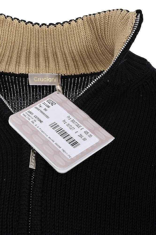 sports shoes 8ebae b16bb Cruciani Jacket Men's Black Beige Cotton Casual 50: Amazon ...