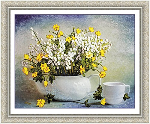Ribbon Embroidery Kit For Beginner Flower Design DIY Home Wall Decor Fresh Afternoon Tea(Printed in Color) (Best Tea For Beginners)