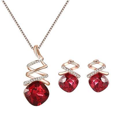 93a057d362a Hosaire Bijoux Ensemble Collier Pendentif Boucles d oreilles Cristal Accessoires  de Bijoux pour Femme et