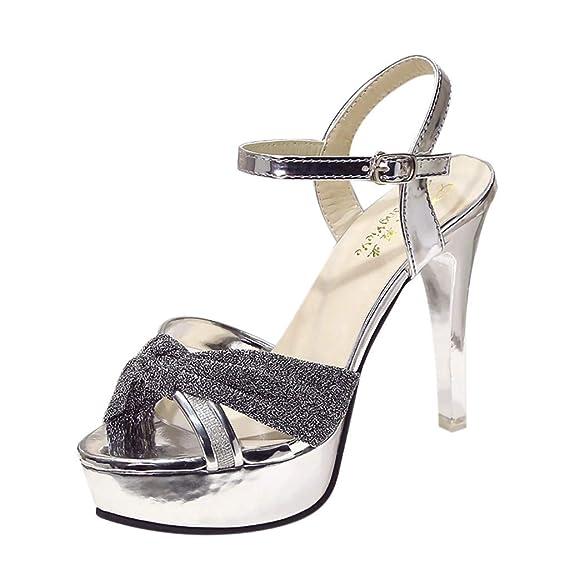 Honestyi Scarpe con Tacco a Spillo Donna Sandali Estivi Eleganti Classico  High Heels Shoes da Sposa Tacchi Alti Plateau Comode Festa Scarpe con  Fiocco Moda  ... b86d60d5aa4