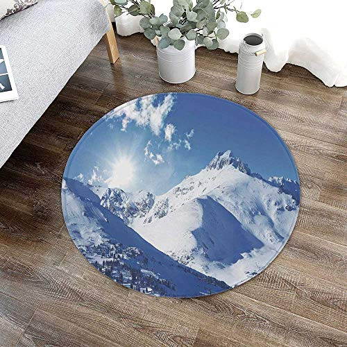Winter Decorations Printing Round Mat,Mountain Peak in Sunny Winter West Northern of States Habitat Hike Image for Bathroom Kitchen Bedroom,23.62